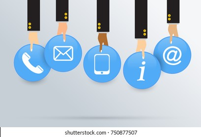 Internet website customer service corporate contact us concept, Icon telephone, email, smartphone, information and address. Vector illustration