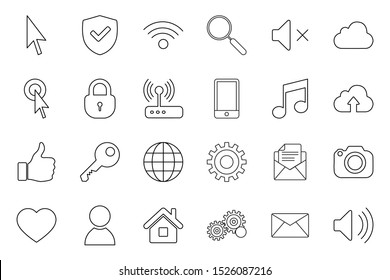 Internet website icons line. Account wifi setting icon. High Quality vector set.