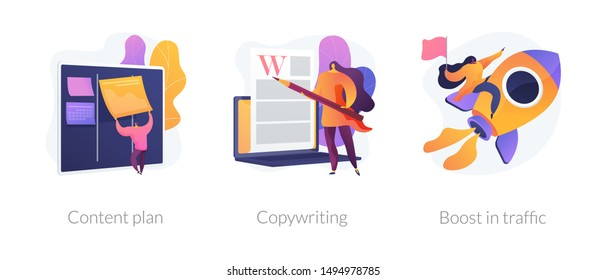 Internet website promotion, SEO strategy icons set. Audience increase, business solutions. Content plan, copywriting, boost in traffic metaphors. Vector isolated concept metaphor illustrations