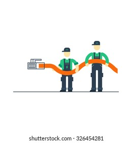 Internet wire connection. Support team, workers with cable connecting to internet, vector illustration