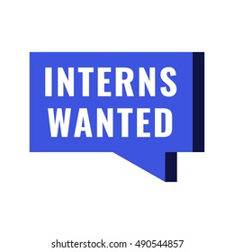 Interns wanted. Flat vector illustration on white background. Can be used business company.