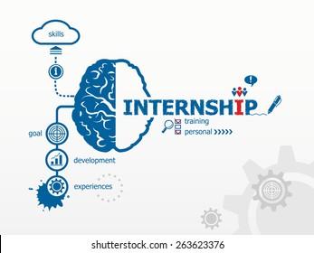 Internship and brain, creative concept. Hand writing Internship with blue marker