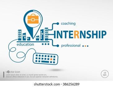 Internship Concept for business.  Internship concepts for web banner and printed materials.