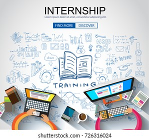Internship concept with Business Doodle design style: online formation, webinars, elearning tips. Modern style illustration for web banners, brochure and flyers.