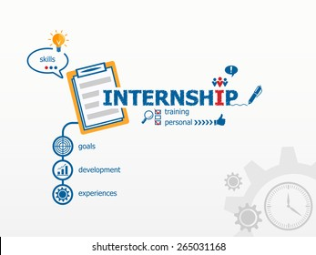 Internship concept and notebook for efficiency, creativity, intelligence. Hand writing Internship with blue marker