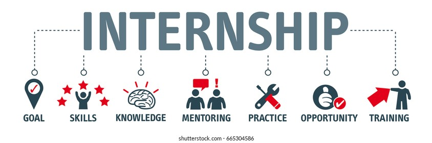 internship concept. vector illustration banner with keywords and icons