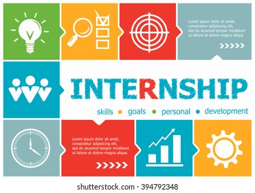 Internship design illustration concepts for business, consulting, management, career. Internship concepts for web banner and printed materials.