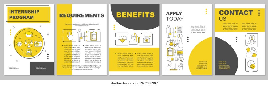 Internship program brochure template layout. Student practice. Flyer, booklet, leaflet print design with linear illustrations. Vector page layouts for magazines, annual reports, advertising posters