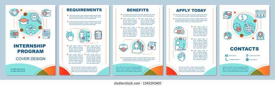 Internship program brochure template layout. Requirements, benefits of students practice. Flyer, leaflet print design, linear illustrations. Vector page layouts for annual reports, advertising posters