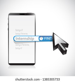 Internship written in search bar and phone isolated over a white background