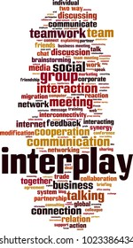 Interplay word cloud concept. Vector illustration