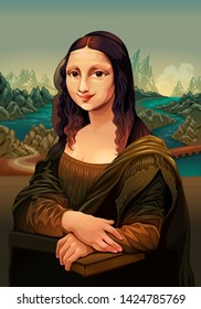 Interpretation of Mona Lisa, famous painting by Leonardo da Vinci. Vector Illustration