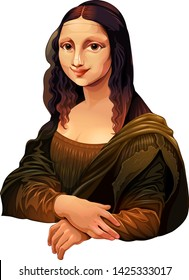 Interpretation of Mona Lisa, famous painting by Leonardo da Vinci. Vector isolated illustration