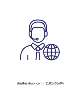 Interpreter line icon. Character in headset with globe. Translation concept. Can be used for topics like global communication, occupation, booth interpretation