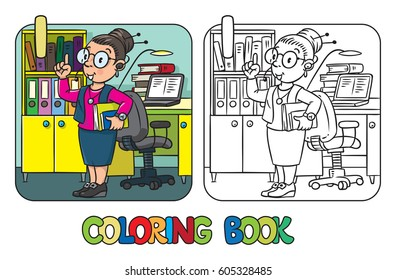 Interpreter or translator coloring book. A smart woman in round glasses with books and headset, raised index finger in office. Profession ABC series. Alphabet.  Children vector illustration. Letter I