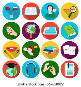 Interpreter and translator set icons in flat style. Big collection of interpreter and translator vector symbol stock illustration