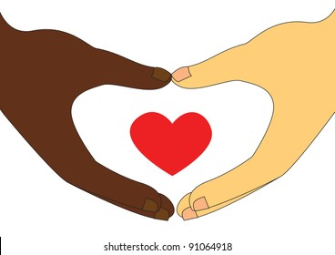 Interracial Couple love, a black man hands and a white woman hands made a love shape, and a small red love in side.