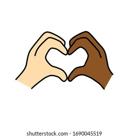 Interracial couple love and marriage vector design with two different skin tones hands touching fingers making heart symbol gesture.
