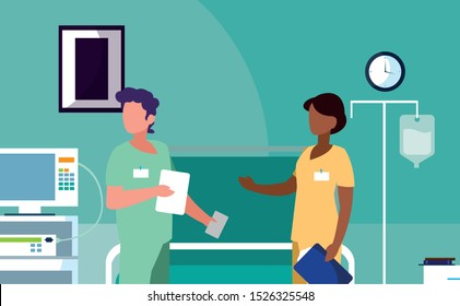 interracial couple medicine workers in operating theater vector illustration design