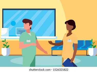 interracial couple medicine workers in reception hospital vector illustration design