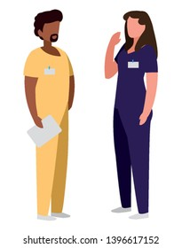 interracial couple medicine workers with uniform characters vector illustration design