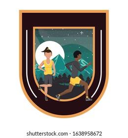 interracial couple running at night in the field scene vector illustration design