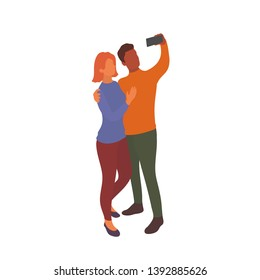 Interracial couple taking selfie together with smartphone in hand. Mixed partners take photo with eath other on a walk or while traveling. Vector flat characters isolated on white background in EPS 10