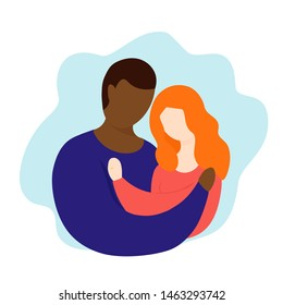 Interracial couple vector illustration. Interaction marriage. Couple with rings. Interracial reletionship. cartoon doodle style