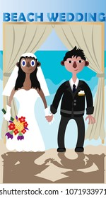 interracial Couples conduct their wedding on a beach