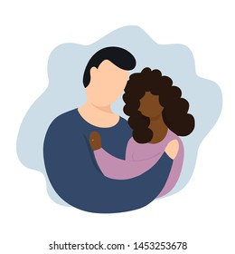 Interracial couples vector illustration. The interaction of marriage. Couple with rings. Interracial relationship. in cartoon doodle style