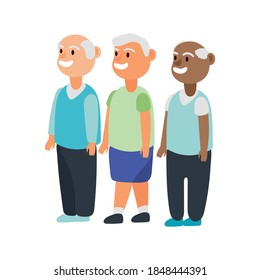 interracial old men group avatars characters vector illustration design