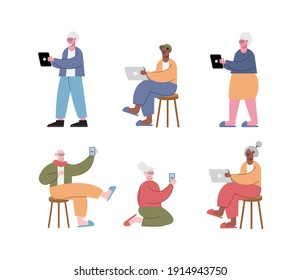 interracial old people using technology characters vector illustration design