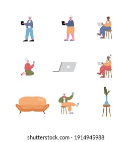 interracial old people using technology and set icons vector illustration design