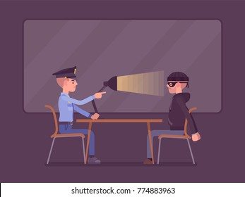 Interrogation with lamp. Policeman questioning the criminal, using light techniques, man arrested or suspected asked, interviewing by police. Vector flat style cartoon illustration
