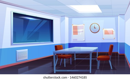 Interrogation room in police station, empty interior for questioning crimes with table, chairs, clock on wall and huge glass window, place for interview arrested people. Cartoon vector Illustration