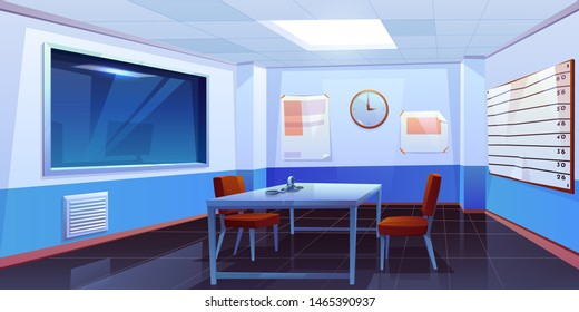 Interrogation room in police station, empty interior for questioning crimes with handcuffs on table, height scale and glass window, place for interview arrested people. Cartoon vector Illustration