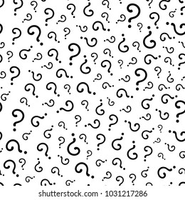 Interrogation Seamless Pattern With Question Marks. Simply Endless Texture Of Query or Quiz Symbols