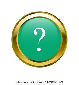 interrogation symbol classic in golden brooch with emerald blue color, editable vector