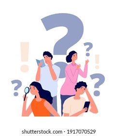 Interrogative concept. Flat people search, woman holding magnifier. Group investigation, searching solution answers. Ask person utter vector concept