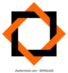 Intersected squares design vector, logo design