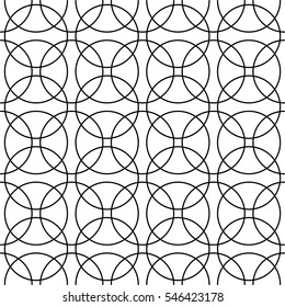 Intersecting circles abstract monochrome. Seamless geometric circle pattern. Vector. Abstract geometric seamless pattern. Black and white style pattern