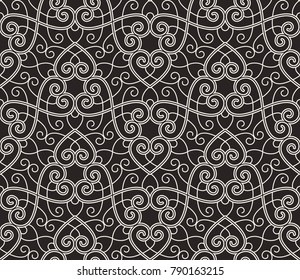 Intersecting curved elegant fine lines and scrolls forming abstract floral ornament. Seamless pattern for background, wallpaper, textile printing, packaging, wrapper.