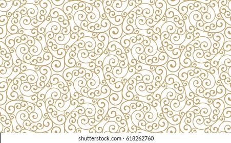 Intersecting curved elegant golden lines and scrolls forming abstract floral ornament. Seamless pattern for textile printing, packaging, wrapper, etc.
