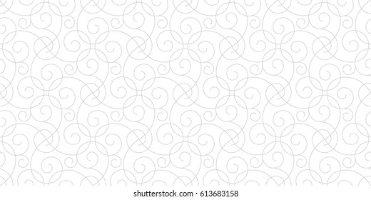 Intersecting curved elegant grey fine lines and scrolls on white background forming abstract floral white texture. Seamless pattern for background, wallpaper, textile printing, packaging, wrapper.