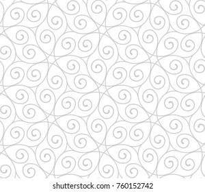 Intersecting curved elegant lines and scrolls forming abstract floral ornament. Seamless pattern for textile printing, packaging, wrapper, etc.
