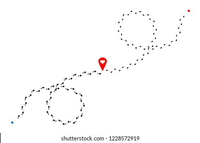 Intersecting footprints of man and woman and red map pin with heart in center of illustration. Vector design element