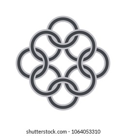 Intersecting intertwining circles. Crossing of rings and lines, logo design element.