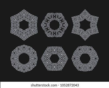 Intersecting intertwining circles set. Crossing of rings and lines, logo design element.