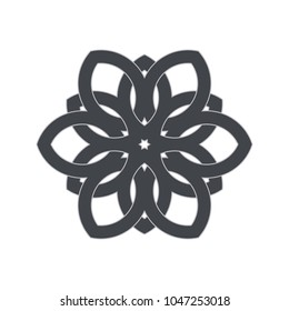 Intersecting intertwining lines. Geometric flower, circular pattern. Vector illustration