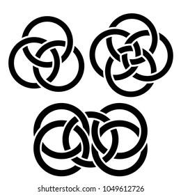 Intersecting intertwining monochrome circles. Vector black-white illustration